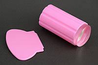 Силиконовый штамп со скрапером розовый
