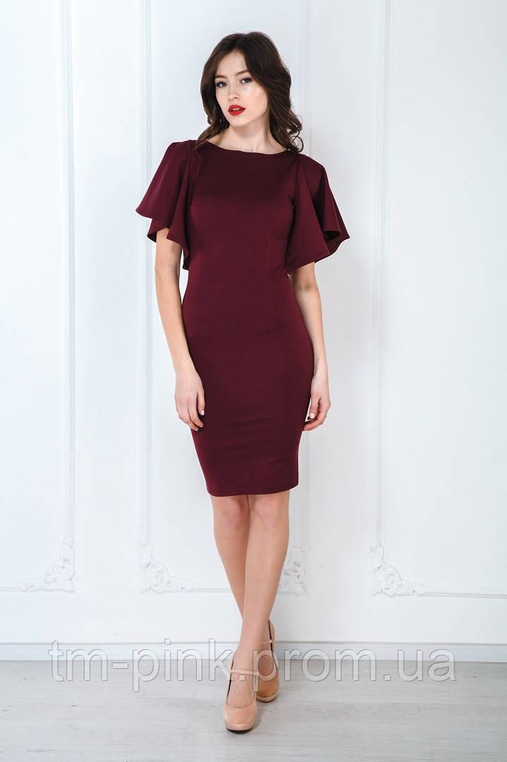 718d5cf1863ff9 Сукня рукав сонце коротка марсала - Інтернет-магазин