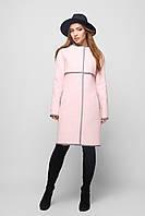 Элегантное Деми Пальто с Кожаной Отделкой Нежно-Розовое