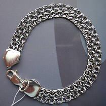 Срібний браслет, 175мм, 11 грам, плетіння подвійний Бісмарк, чорніння, фото 2