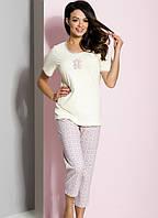 Пижама женская с мишкой футболка и капри 46 48р хлопок