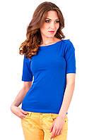 Синяя футболка женская летняя с коротким рукавом без рисунка хлопок хб стрейч трикотажная (Украина)