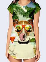 """Яркая 3D-туника с оригинальным принтом/рисунком """"Собака в очках"""" на лето из легкой дышащей ткани."""
