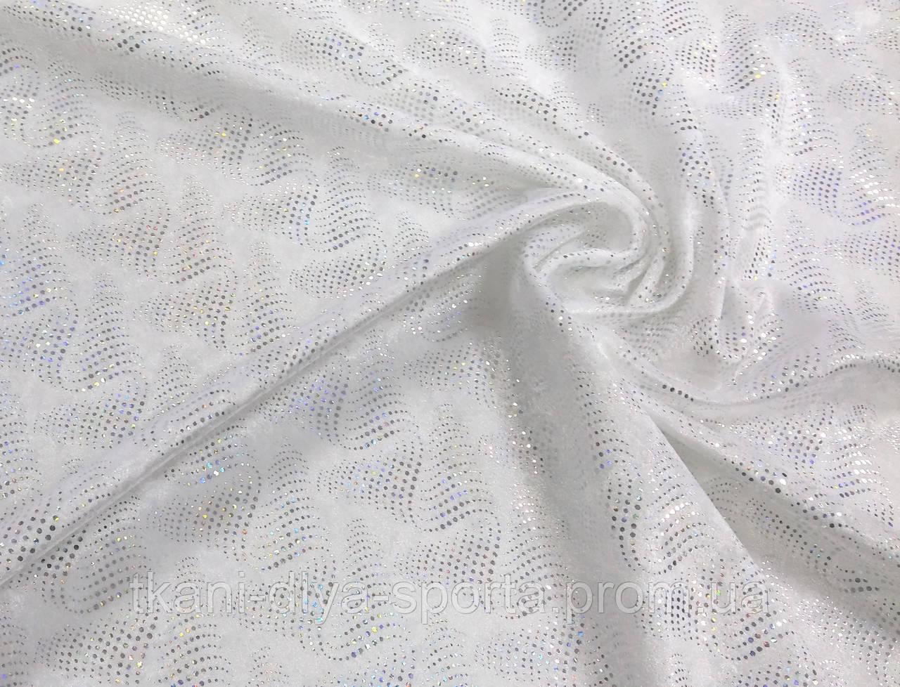 Стрейч-бархат крэш с голографией белый