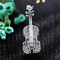 Брошь со стразами женская Скрипка