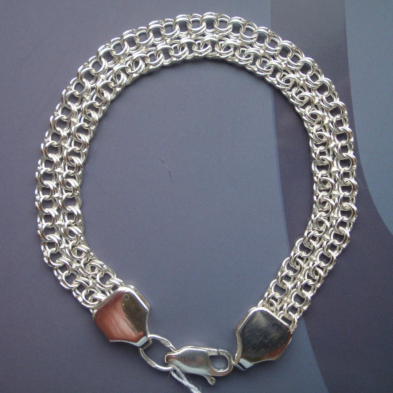 Серебряный браслет, 180мм, 11 грамм, плетение двойной Бисмарк