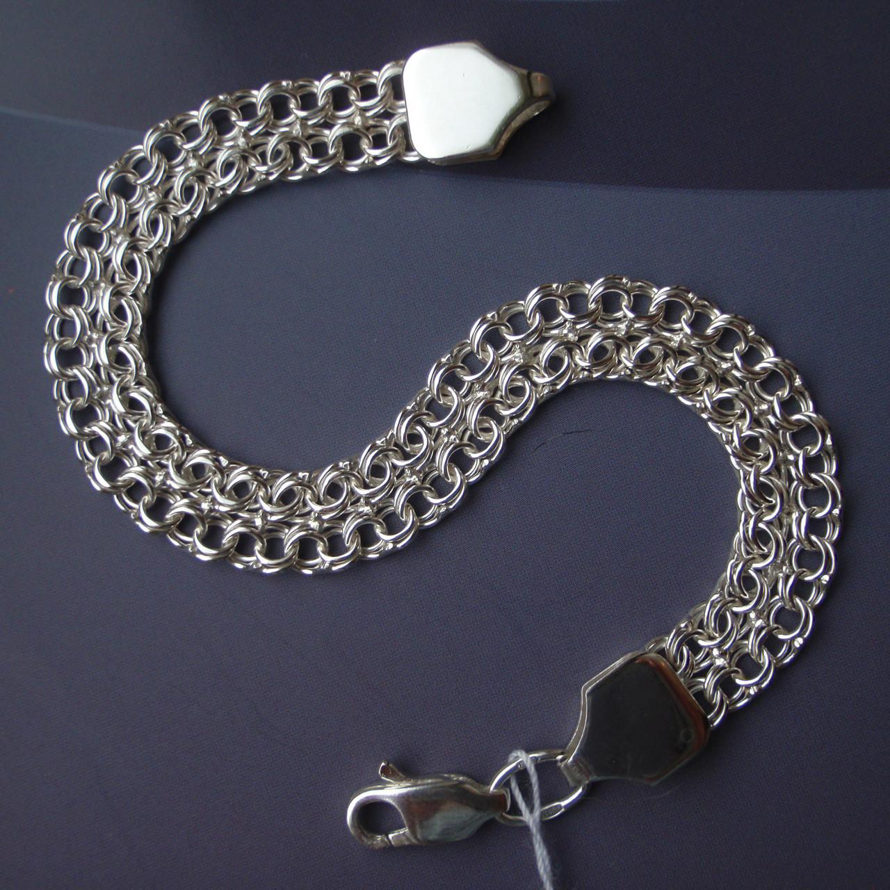 Серебряный браслет, 190мм, 11 грамм, плетение двойной Бисмарк