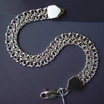 Серебряный браслет, 180мм, 11 грамм, плетение двойной Бисмарк, фото 2
