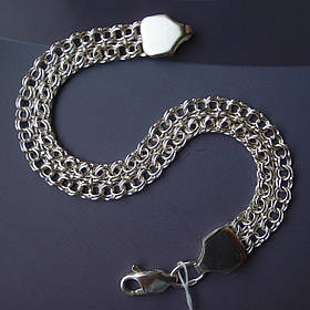 Срібний браслет, 190мм, 14 грам, Подвійний Бісмарк