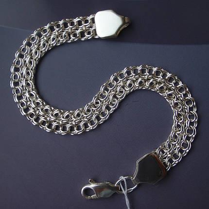 Серебряный браслет, 190мм, 11 грамм, плетение двойной Бисмарк, фото 2