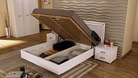 Белла кровать 160 подъемная профиль с каркасом белый глянец