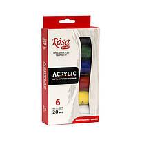 Набор красок акриловых, 6 цветов по 20 мл, ROSA Studio, 90747252