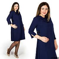 Темно-синее платье с бантиками на боках 48056, большого размера