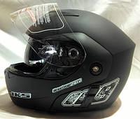 Мотошлем FGN трансформер с очками, черный матовый, фото 1