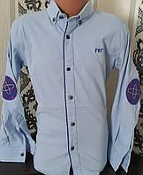 Стильная стрейчевая рубашка для мальчика 6-14 лет (опт)(голубая) (пр. Турция)