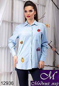 Стильная женская нежно-голубая блуза с нашивками (р. S, M, L, XL) арт.12936