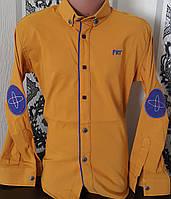Стильная стрейчевая рубашка для мальчика 6-14 лет (опт)(горчица) (пр. Турция)