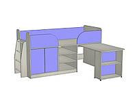 """Кровать-чердак  с рабочей зоной """"Кузя"""" со спальным местом 1800х800"""