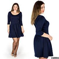Темно-синее платье с глубоким декольте 48804, большого размера