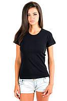 Черная футболка женская летняя классическая с коротким рукавом для дома и спорта все размеры хб (Украина)
