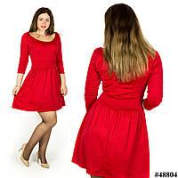 Красное платье с глубоким декольте 48804, большого размера