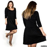 Черное платье с глубоким декольте 48804, большого размера