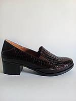 Туфли женские коричневые на низком удобном каблуке две резинки лаковая кожа