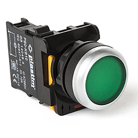 Кнопка управления для монтажа на панель, щиток. Ток коммутации 10А, PLASTIM (ПЛАСТИМ) Без подсветки, Обычная, Зеленый