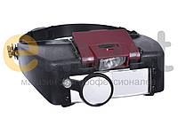 Бинокулярная лупа с LED подсветкой 1.5X 3X 8.5X 10X увеличения Magnifier 81007-A, фото 1