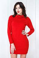 Сукня-туніка хомут трикотаж рубчик червона
