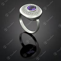 Серебряное кольцо с аметистом и фианитами. Артикул П-415