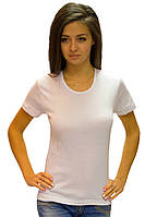 Белая футболка женская летняя классическая с коротким рукавом для дома и спорта все размеры хб Украина