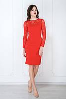 Сукня декольте мереживо гіпюр червона