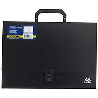 Портфель пластиковий чорний на 1 відділення А4, 329х232х35, Buromax