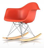 Кресло качалка пластиковое с буковыми полозьями Тауэр R оранжевое, Реплика на кресло-качалку Eames R