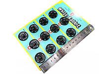 Кнопка одежная,цвет черный, диаметр 25мм (12шт/планшет)