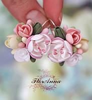 """""""Цветочное кружево"""" авторские серьги с цветами из полимерной глины, фото 1"""
