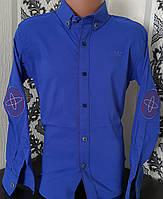 Стильная стрейчевая рубашка для мальчика 6-14 лет (одн ярко синяя) (пр. Турция)