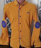 Стильная стрейчевая рубашка для мальчика 6-14 лет (одн горчица) (пр. Турция)