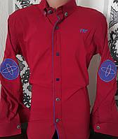 Стильная стрейчевая рубашка для мальчика 6-14 лет (одн бордо) (пр. Турция)