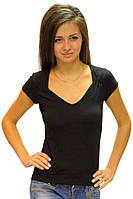 Черная футболка женская летняя с коротким рукавом и вырезом без рисунка хлопок хб стрейч трикотажная (Украина)
