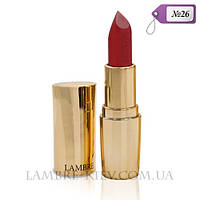 """Губная помада матовая """"Lipstick Exclusive Colour №26 красные маки (легкий перламутр) Ламбре/Lambre"""