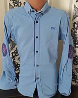 Стильная стрейчевая рубашка для мальчика 6-14 лет (одн темно голубая) (пр. Турция)