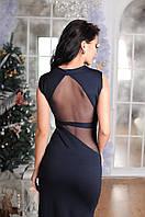 Длинное платье в пол со вставками прозрачной сетки (3 цвета)