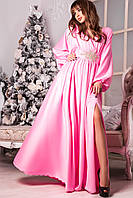 Женское платье макси розового цвета