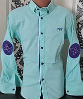Стильная стрейчевая рубашка для мальчика 6-14 лет (одн бирюзовая) (пр. Турция)