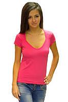 Розовая яркая футболка женская летняя с коротким рукавом и вырезом хлопок стрейч трикотажная (Украина)