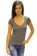 Серая футболка женская летняя с коротким рукавом и вырезом без рисунка хлопок хб стрейч трикотажная (Украина)