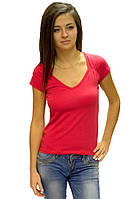Красная яркая футболка женская летняя с коротким рукавом и вырезом хлопок стрейч трикотажная (Украина)