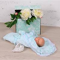 """Летний конверт-одеяло для новорожденных """"Гербера"""" ментол, фото 1"""
